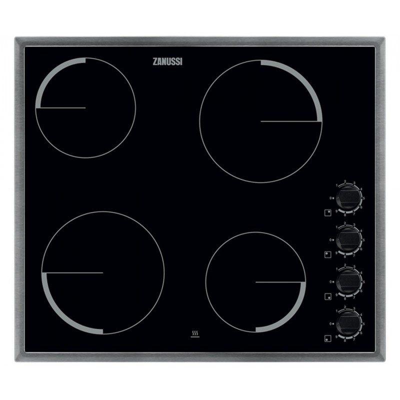 Zanussi ZEV6140XBA 58cm Ceramic Hob - Black / Stainless Steel